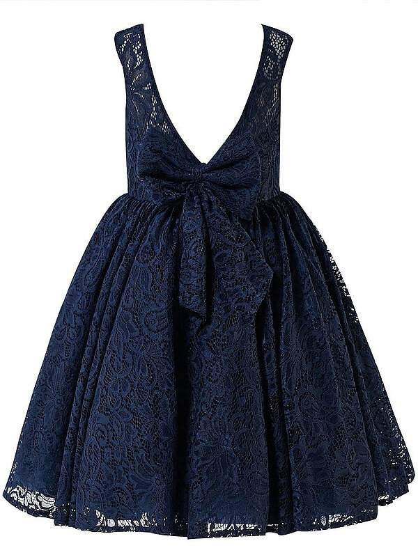 Chic A-Line Scoop Sleeveless Lace Tea-length Flower Girl Dress