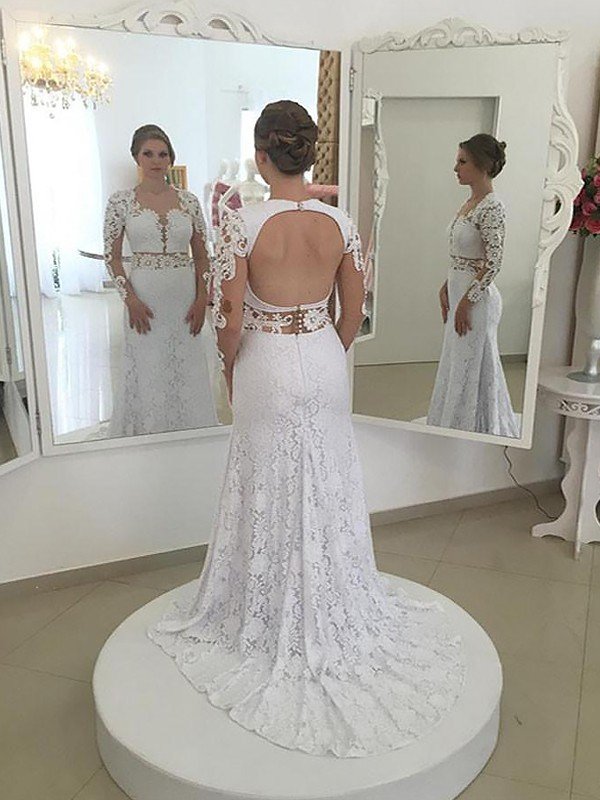 Exquisite Sheath Lace Long Sleeves Scoop Sweep/Brush Train Wedding Dress