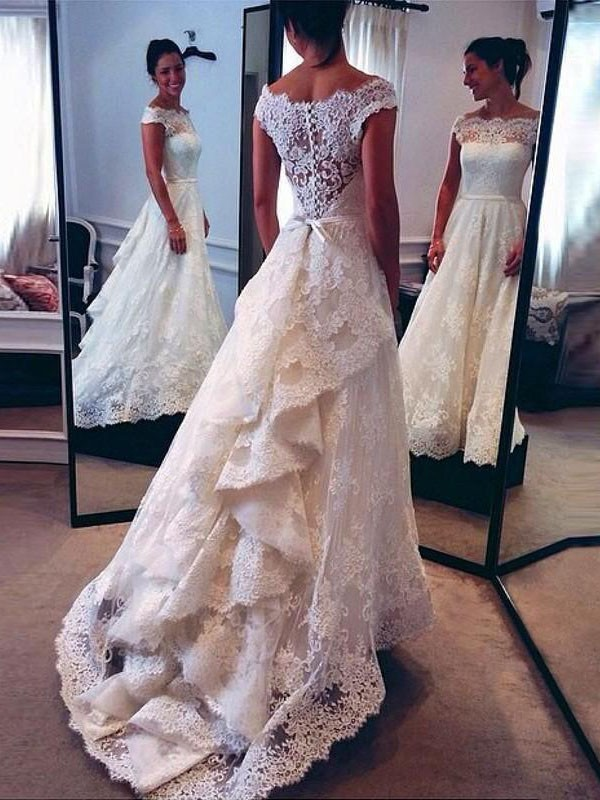 Exquisite A-Line Scoop Lace Sweep/Brush Train Sleeveless Wedding Dress