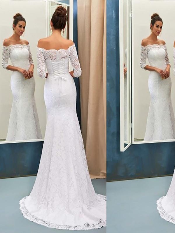 Exquisite Mermaid Off-the-Shoulder Sweep/Brush Train Lace Long Sleeves Wedding Dress