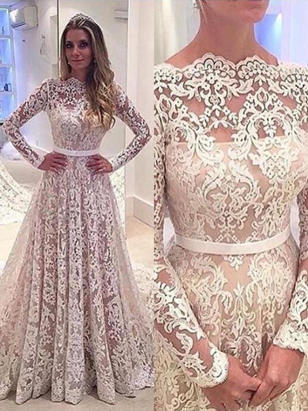 Exquisite A-Line Bateau Long Sleeves Lace Court Train Wedding Dress