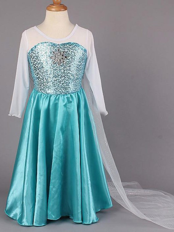 Fashion A-line Scoop Long Sleeves Beading Floor-length Satin Flower Girl Dress