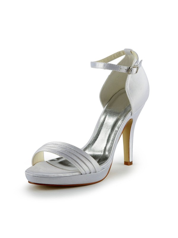 Fashion Women Satin Stiletto Heel Sandals Buckle White Wedding Shoes