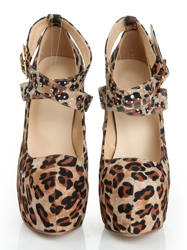 Fashion Women Suede Stiletto Heel Closed Toe Platform Leopard Print Platforms Shoes