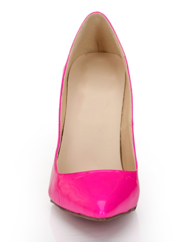 Beautiful Women Patent Leather Fuchsia Closed Toe Stiletto Heel High Heels