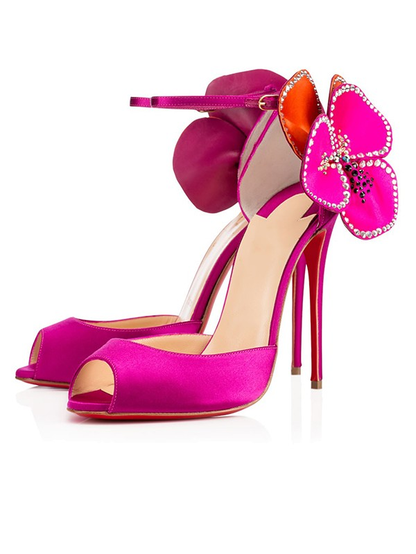 Beautiful Women Satin Peep Toe Flower Stiletto Heel High Heels