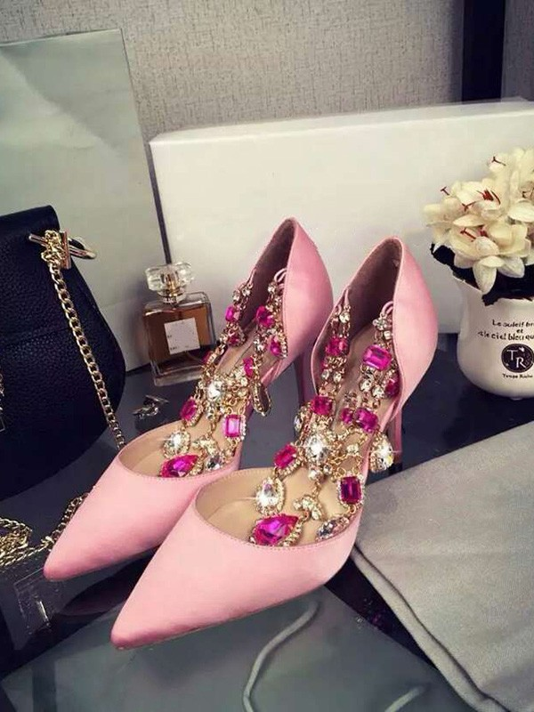 Beautiful Women Pink Stiletto Heel Satin Closed Toe Chain High Heels