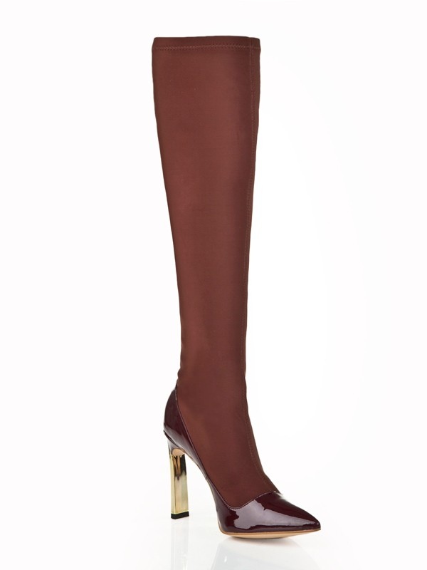 New Women Stiletto Heel Elastic Leather Knee High Chocolate Boots