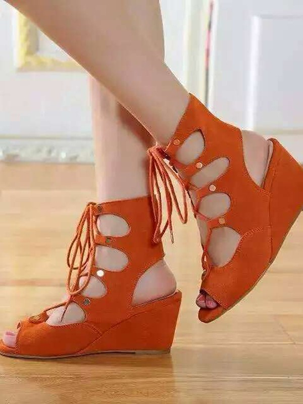 New Women Wedge Heel Suede Peep Toe Lace-up Sandal Ankle Orange Boots