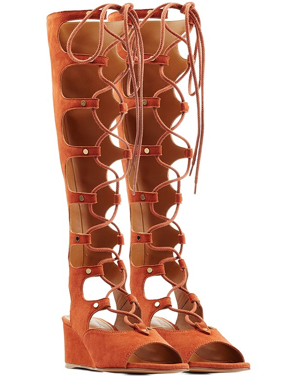 New Women Wedge Heel Peep Toe Suede Lace-up Sandal Knee High Orange Boots