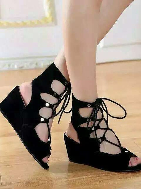 New Women Suede Wedge Heel Peep Toe Lace-up Sandal Ankle Black Boots