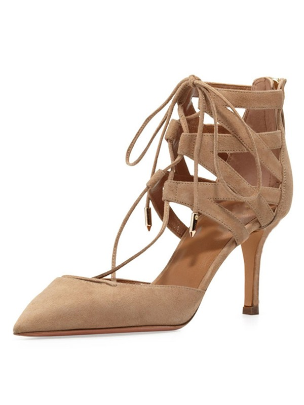 Hot Sale Women Stiletto Heel Suede Closed Toe Lace-up Sandals Shoes