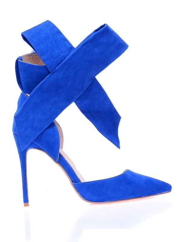 Beautiful Women Suede Closed Toe Stiletto Heel Knot High Heels