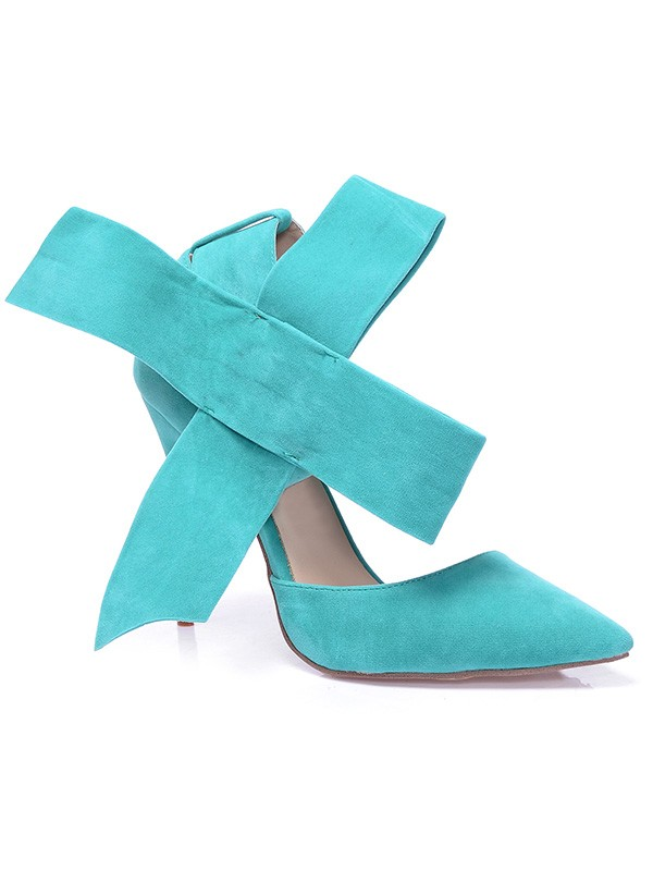 Beautiful Women Stiletto Heel Suede Closed Toe Knot High Heels