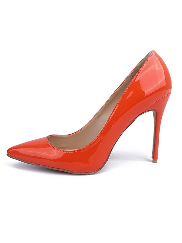 Beautiful Women Orange Patent Leather Closed Toe Stiletto Heel High Heels
