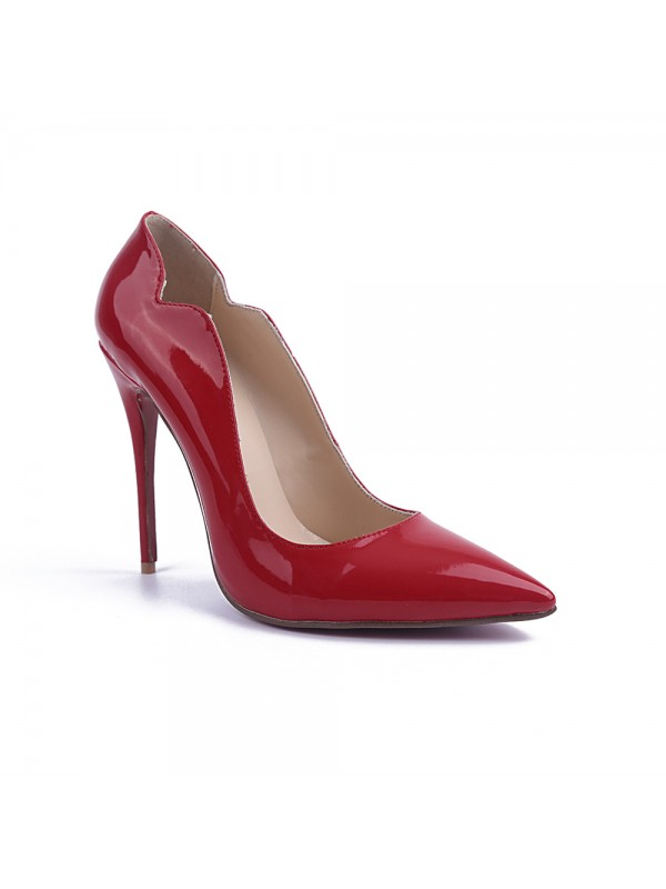 Beautiful Women Closed Toe Stiletto Heel Patent Leather High Heels