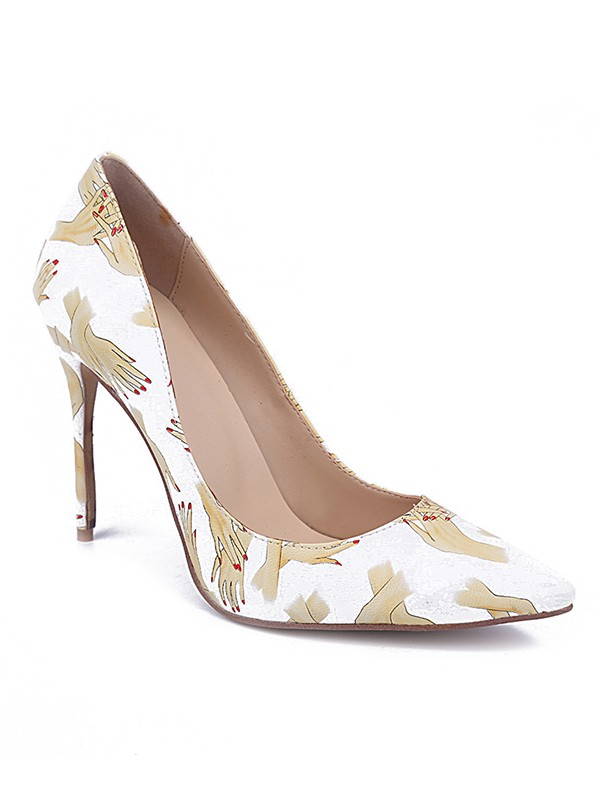 Beautiful Women Closed Toe PU Stiletto Heel Printing High Heels