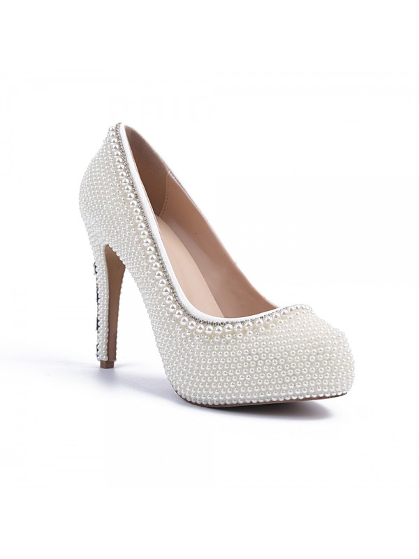 Classical Women Stiletto Heel Platform Patent Leather Closed Toe Pearl White Wedding Shoes