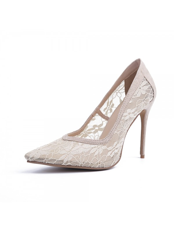 Beautiful Women Closed Toe Lace Stiletto Heel High Heels