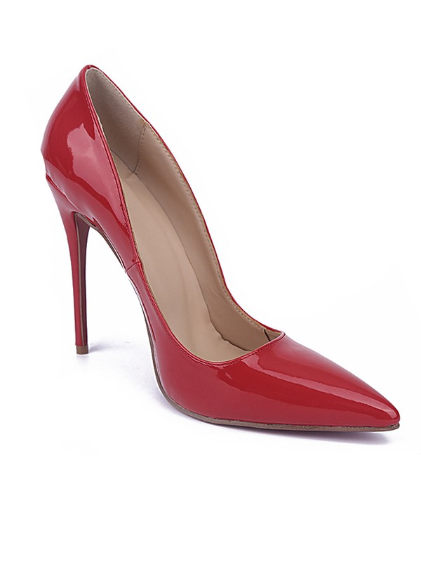 Chic Women Red Closed Toe Stiletto Heel Patent Leather High Heels