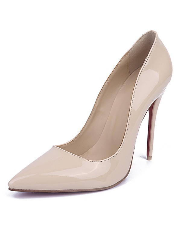 Chic Women Patent Leather Closed Toe Stiletto Heel Office High Heels