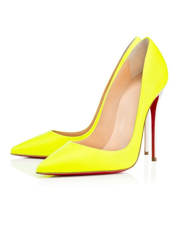Chic Women Yellow Patent Leather Closed Toe Stiletto Heel High Heels