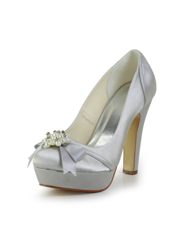 Exquisite Women Satin Chunky Heel Closed Toe Platform Silver Wedding Shoes