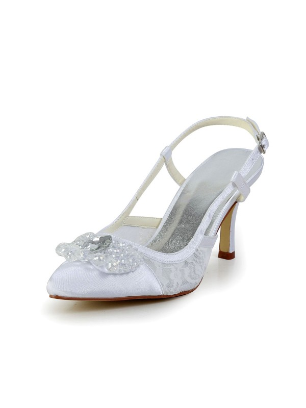 Exquisite Women Satin Cone Heel Closed Toe White Wedding Shoes Buckle
