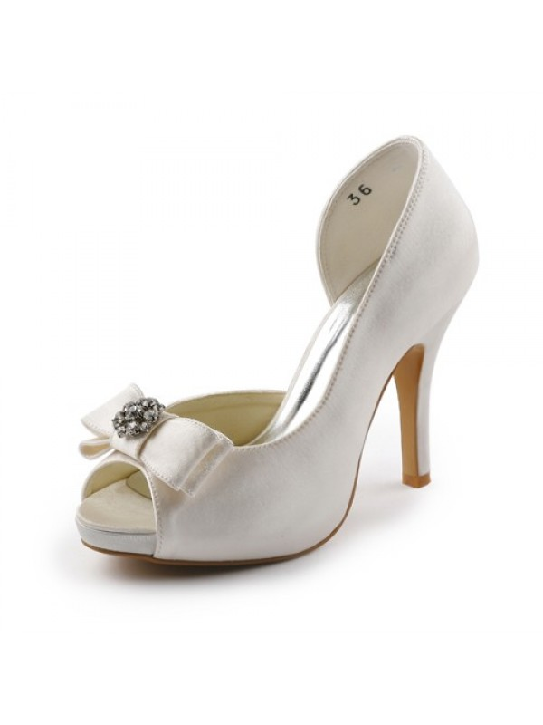 Exquisite Women Satin Stiletto Heel Peep Toe Platform Ivory Wedding Shoes