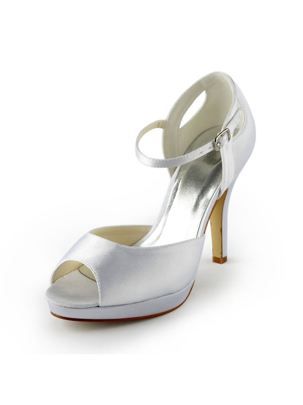 Fashion Women Satin Stiletto Heel Peep Toe Platform Sandals White Wedding Shoes Buckle