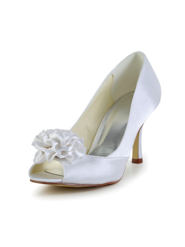 Exquisite Women Satin Stiletto Heel Peep Toe White Wedding Shoes Flower