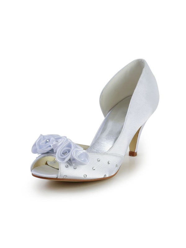 Exquisite Women Satin Cone Heel Peep Toe White Wedding Shoes Flower