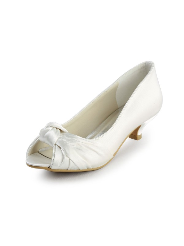 Exquisite Women Satin Kitten Heel Peep Toe Sandals White Wedding Shoes