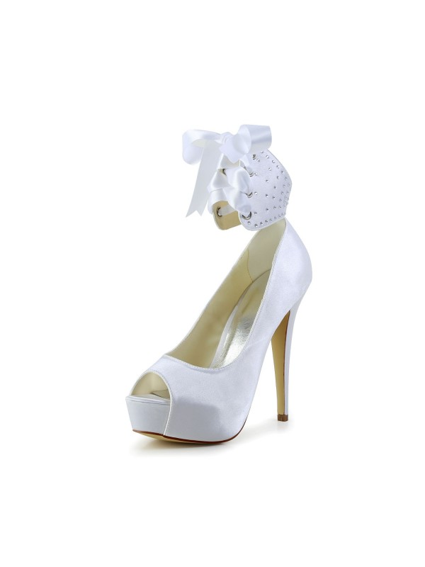 Exquisite Women Satin Peep Toe Stiletto Heel White Wedding Shoes