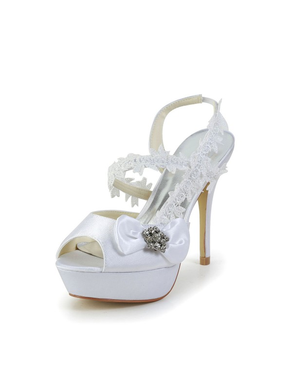 Exquisite Women Satin Peep Toe Stiletto Heel White Shoes Wedding