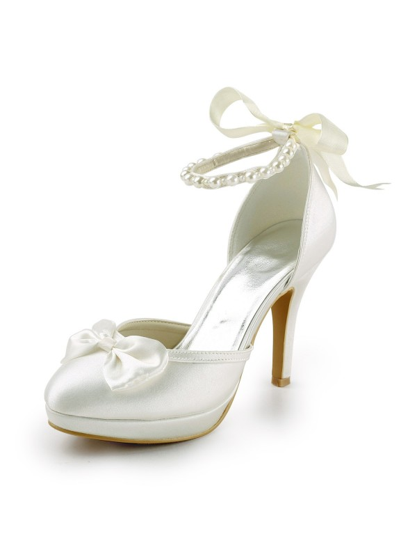 Exquisite Women Satin Stiletto Heel Closed Toe Platform Pumps White Wedding Shoes