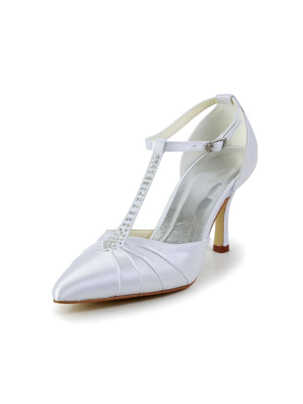 Exquisite Women Satin Stiletto Heel Closed Toe Platform White Wedding Shoes