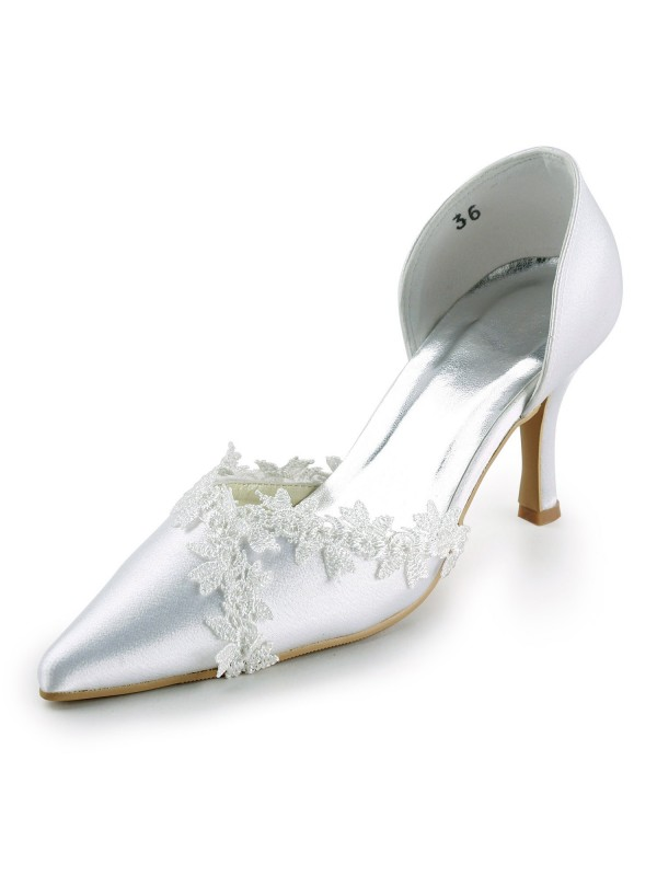 Exquisite Women Satin Stiletto Heel Closed Toe Pumps White Wedding Shoes Lace