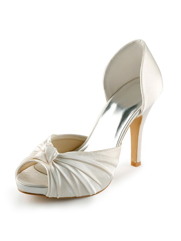 Exquisite Women Satin Stiletto Heel Peep Toe Platform Pumps White Wedding Shoes