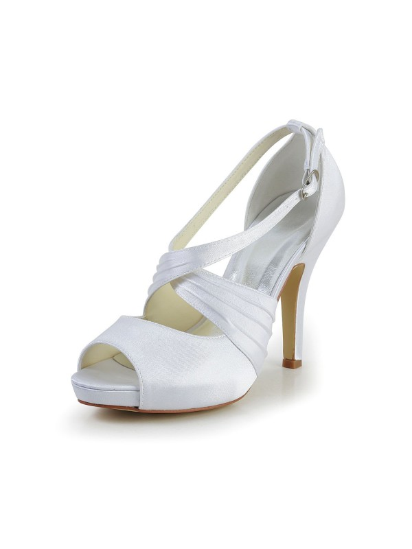 Exquisite Women Satin Stiletto Heel Peep Toe Buckle White Wedding Shoes