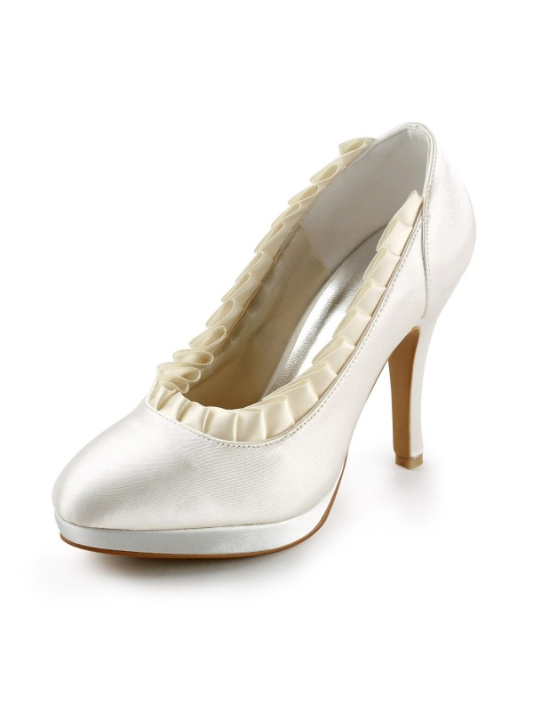 Exquisite Women Satin Upper Stiletto Heel Pumps Ivory Wedding Shoes
