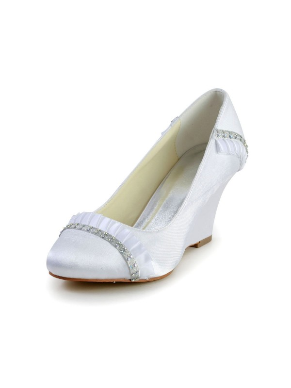 Exquisite Women Satin Wedge Heel Wedges Closed Toe White Wedding Shoes
