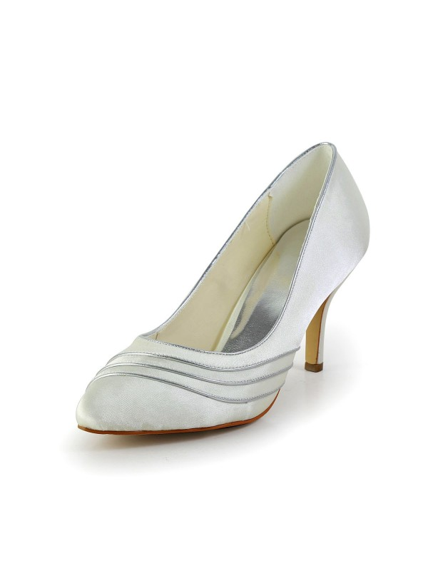 Exquisite Women Satin Stiletto Heel Pumps White Wedding Shoes