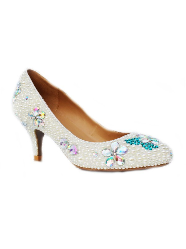 Chic Women Patent Leather Cone Heel Closed Toe Pearl & High Heels