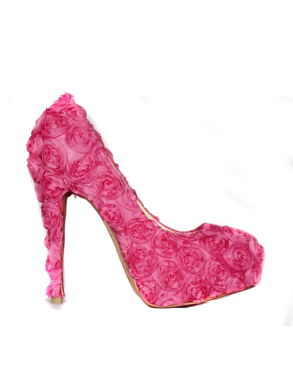 Classical Women Closed Toe Stiletto Heel Platform Flowers Pink Wedding Shoes