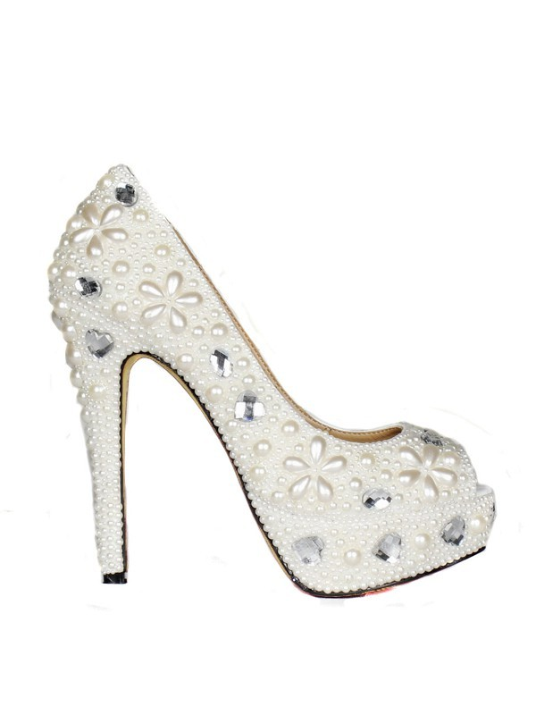 Classical Women Patent Leather Stiletto Heel Peep Toe Platform Pearl White Wedding Shoes
