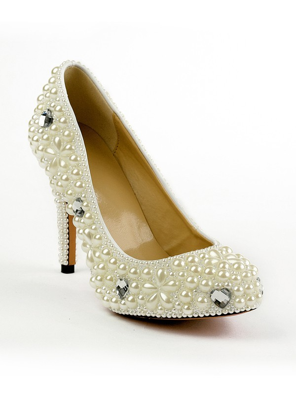 Classical Women Patent Leather Closed Toe Stiletto Heel Platform Pearl Ivory Wedding Shoes