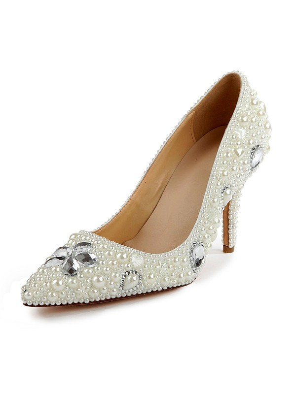 Classical Women Patent Leather Closed Toe Stiletto Heel Pearl White Wedding Shoes