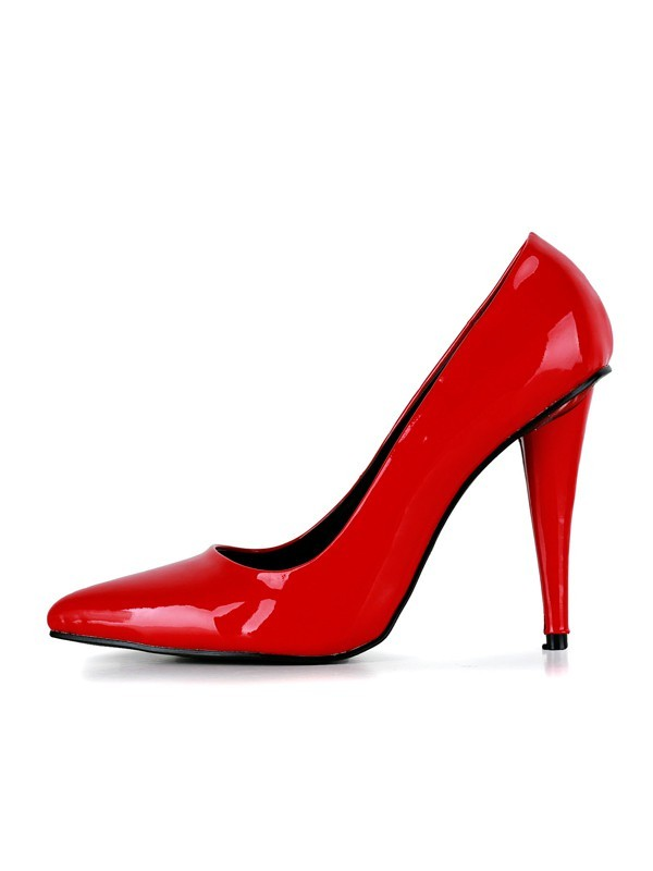 Chic Women Cone Heel Patent Leather Closed Toe High Heels