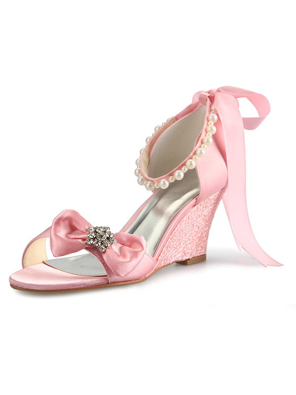 Classical Women Satin Wedge Heel Peep Toe Pearl Pink Wedding Shoes
